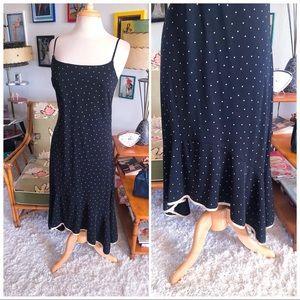 Vintage 1940s Style Dress Polka Dot M L 40s 1930s
